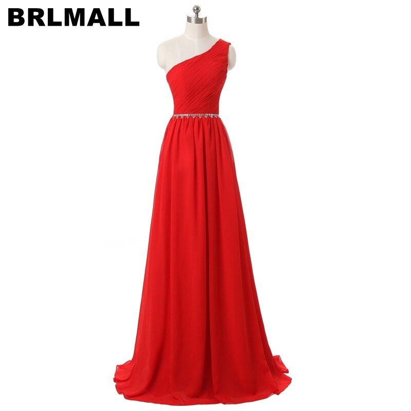 BRLMALL High Quality Red One Shoulder   Prom     Dress   2017 Beaded Shiny Crystal Long Evening Party   Dress   chiffon Vestido De Festa