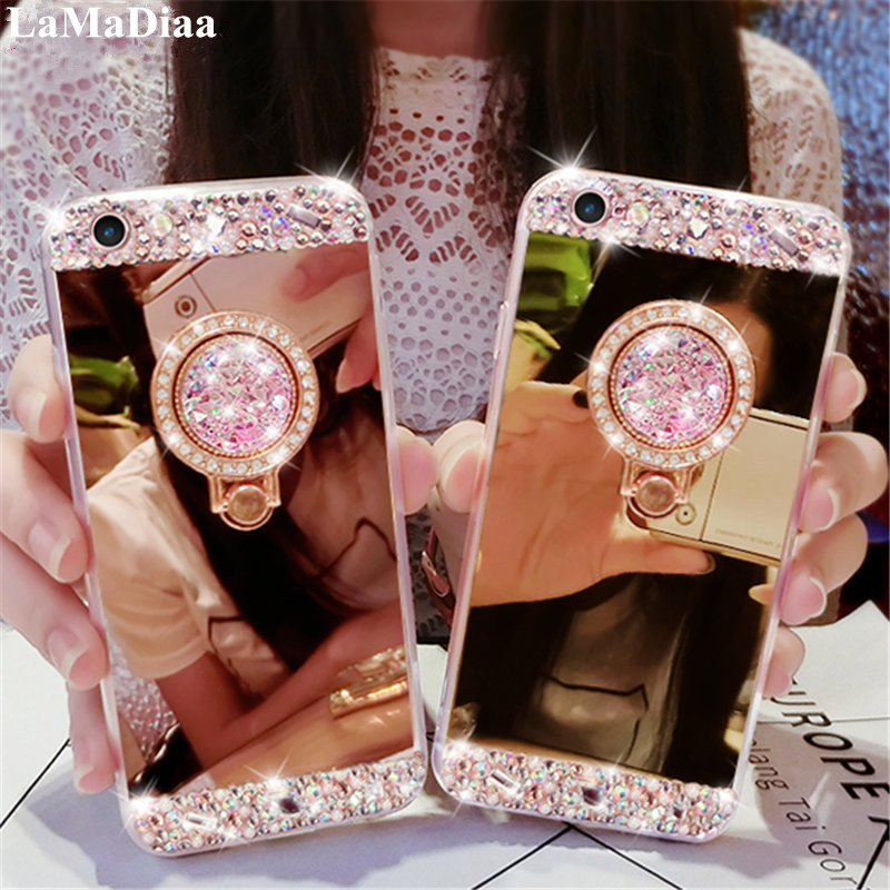 Ring-Case Soft-Mirror Diamond Note 5a 5s Plus Xiaomi Mi Redmi Luxury For 5-4x4a/6a 7/6-pro/Luxury/Diamond