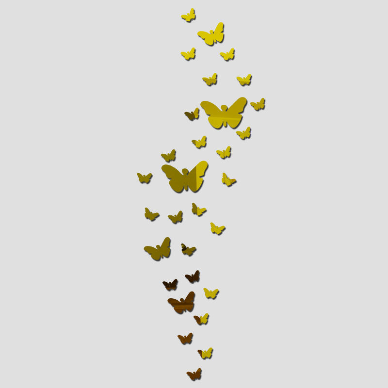 Diy Akrilik ayna duvar sticker kelebek Modern gerçek promosyon ev - Ev Dekoru - Fotoğraf 2