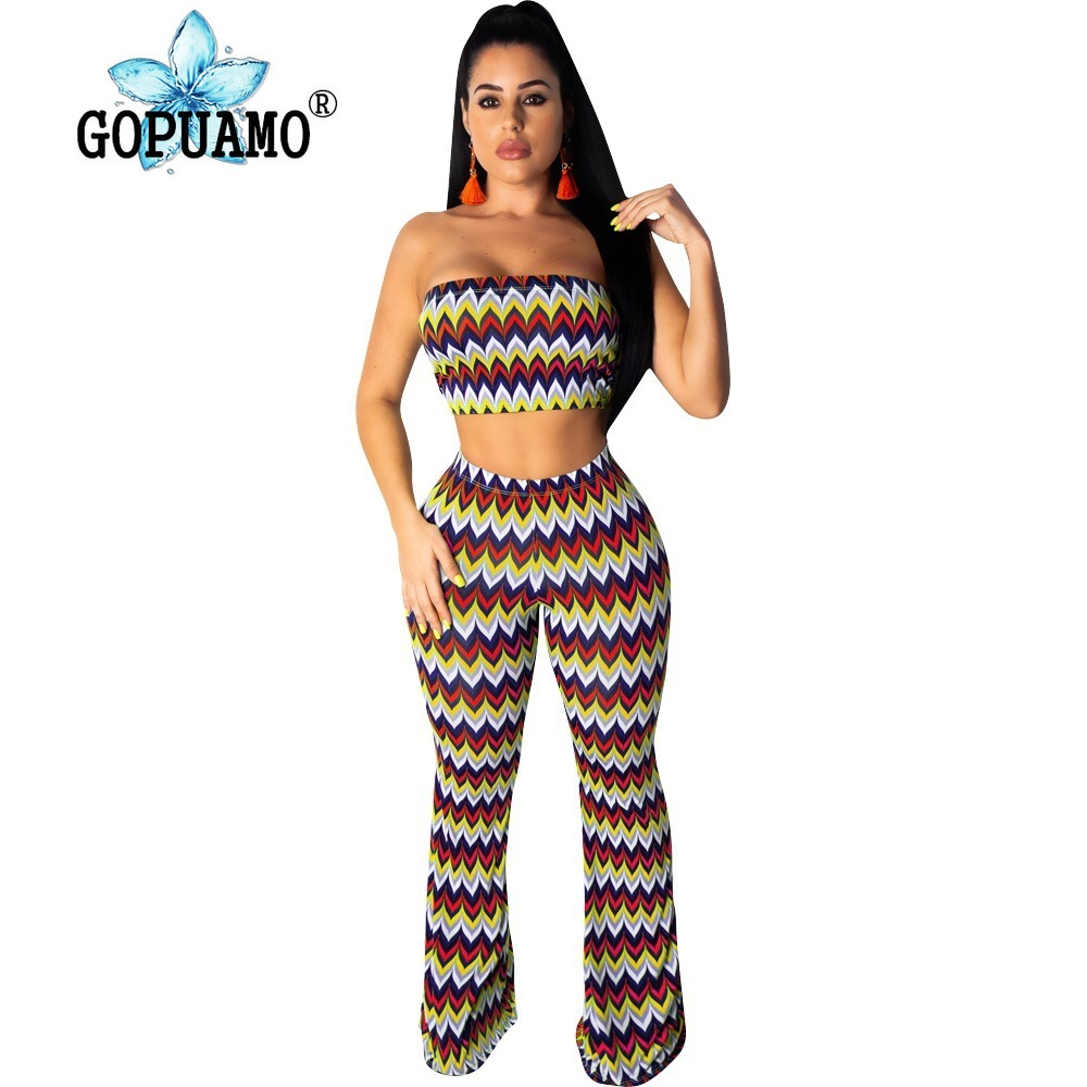 Wave Striped Sexy 2 Piece Matching Sets Women Off Shoulder Backless Crop Top And Bodycon Pants Summer Plus Size Outfit Sweatsuit in Women 39 s Sets from Women 39 s Clothing