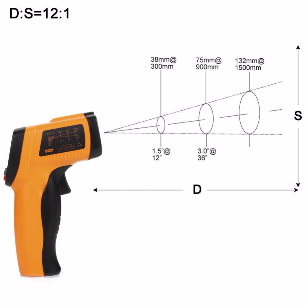 -50 to 600 Degree Infrared Temperature Measuring LCD Digital Handheld Non-contact Thermometer IR Temperature Gun