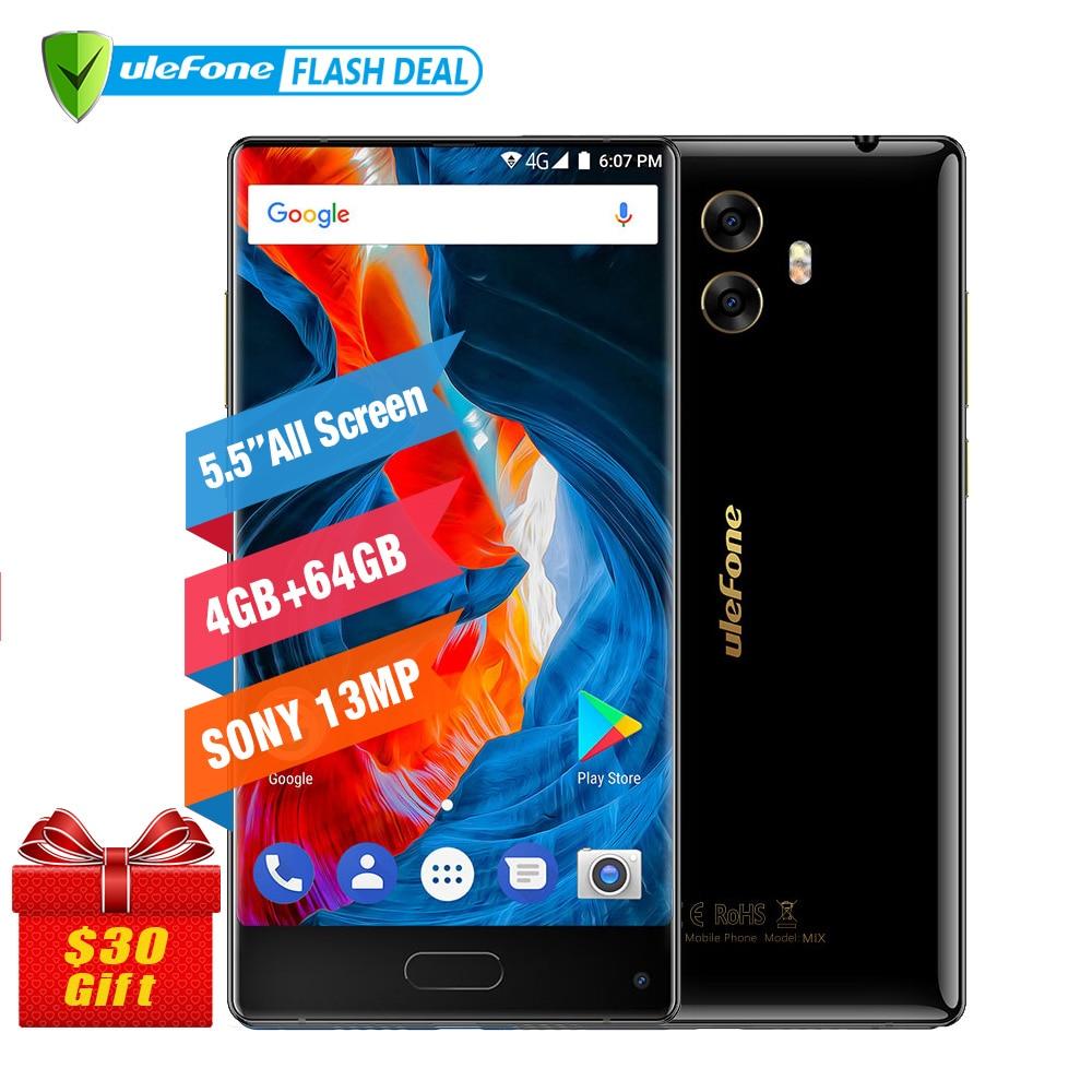 Ulefone MIX 13MP Dual-kamera Handy 5,5 zoll MTK6750T Octa-core Android 7.0 4 GB + 64 GB Fingerabdruck 4G Smartphone