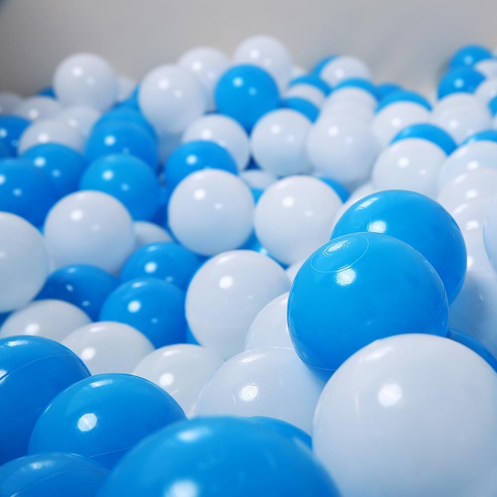 100 Pcs//lot 5.5cm Eco-Friendly White Blue Soft Plastic Ocean Ball Funny Baby