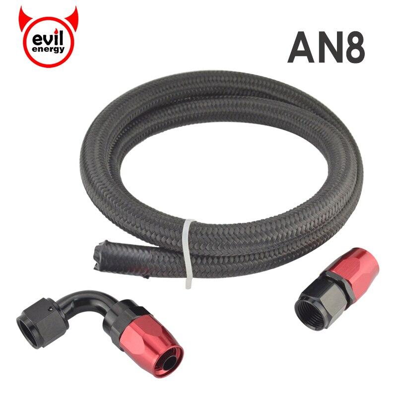 Evil Energy 1M AN8 Nylon Braided Black Oil Fuel Racing Hose+AN8 Straight Fitting 90Degree Swivel Hose End Oil Cooler Adapter Kit
