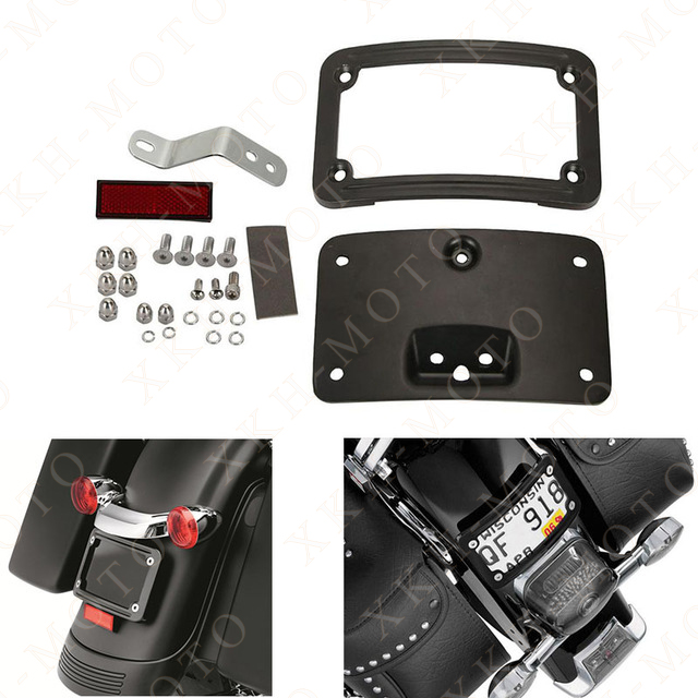 Aftermarket Motorcycle License Plate Mounting frame Kits For Harley Sof tail Deluxe FLSTN 2005-2014 BLACK motorcycle tail tidy fender eliminator registration license plate holder bracket led light for ducati panigale 899 free shipping
