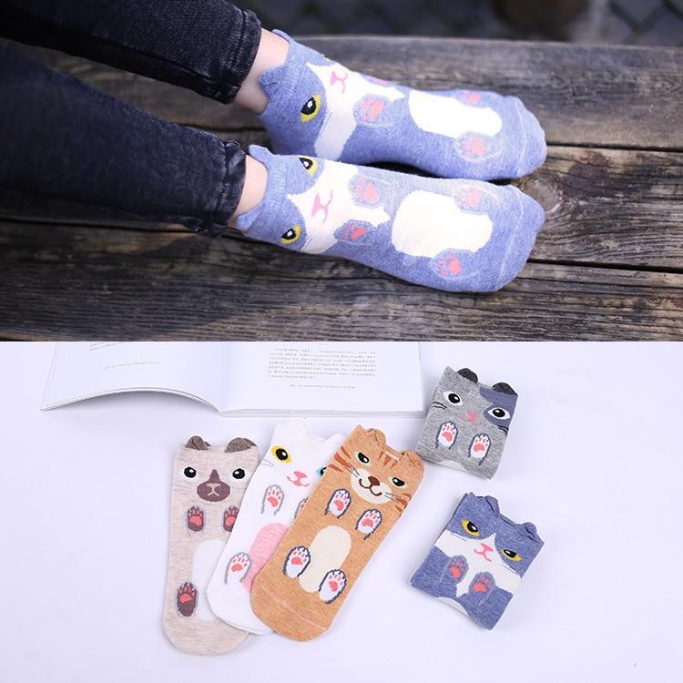 Women Cotton Socks Fashion Cute Cartoon Dog Cat 3D Animals Style Warm Socks Lady Floor Socks For Female