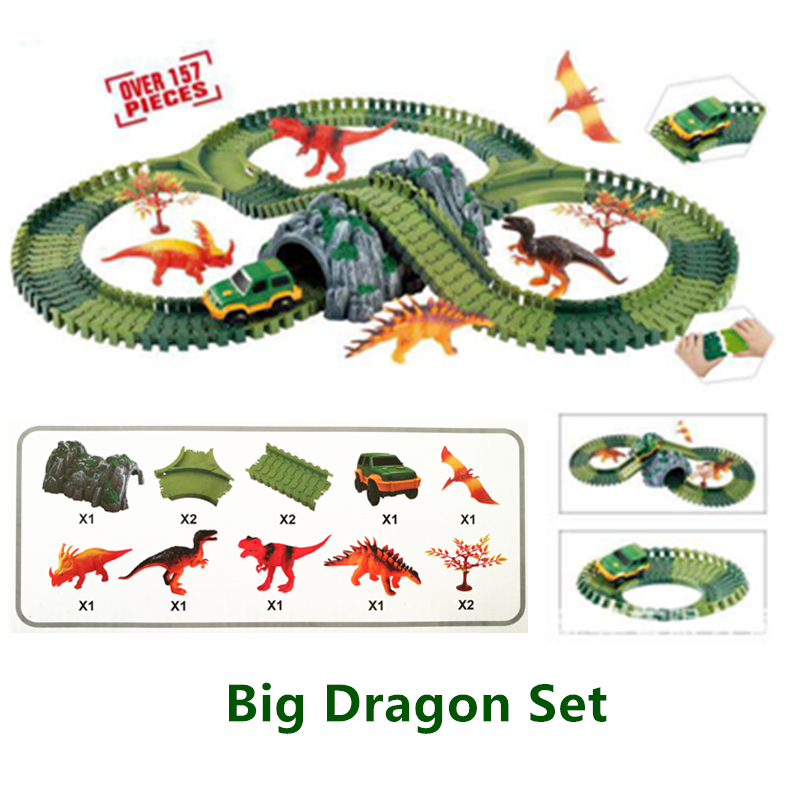 Over 157pcs New DIY Flex Railway Roller Coaster Electric Rail Car Racing Dragon Track Christmas Kids Toys Flexible Track