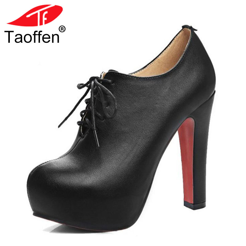 TAOFFEN Plus Size 34-48 Women Pumps High Heel Shoes Lace Up PU Leather Shoes Women Platforms Autmun Party Shoes Prom Footwear hot sale womens pu leather shoes lace up rivet metal decoration punk style prom ankle boots for women casual footwear plus size