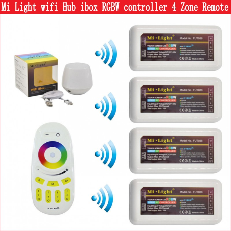 Mi Light 2.4G WiFi Controller Ibox Hub 4 Zone RF Remote Group RGBW Led  Controller Support IOS Android APP Free Shipping