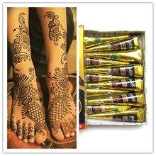 1 шт., Новое поступление, краска для боди-арта, высокое качество, мини, натуральные индийские татуировки, хна, паста для рисования тела, черная хна, тату Golecha