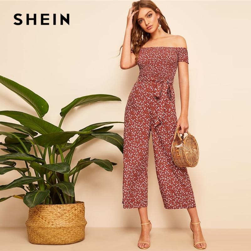 SHEIN Boho Rust Shirred Bodice Belted Floral Bardot   Jumpsuit   Women Spring Elegant Off the Shoulder High Waist Maxi   Jumpsuits