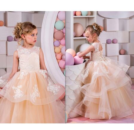 Fancy Orange Puffy Organza Flower Girl Dress Crew Neck Mesh Ball Gowns Kids Holy Communion Dresses For Christmas 2-16Y
