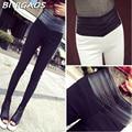 2016 New Fashion Euramerican Black White Slim Elastic Splicing Leather High Waist Leggings Skinny Pencil Pants Pantalones Women