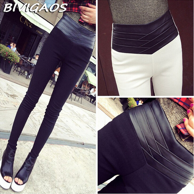 2016 New Fashion Euramerican Black White Slim Elastic Splicing Leather High Waist Leggings Skinny Pencil Pants Pantalones Women