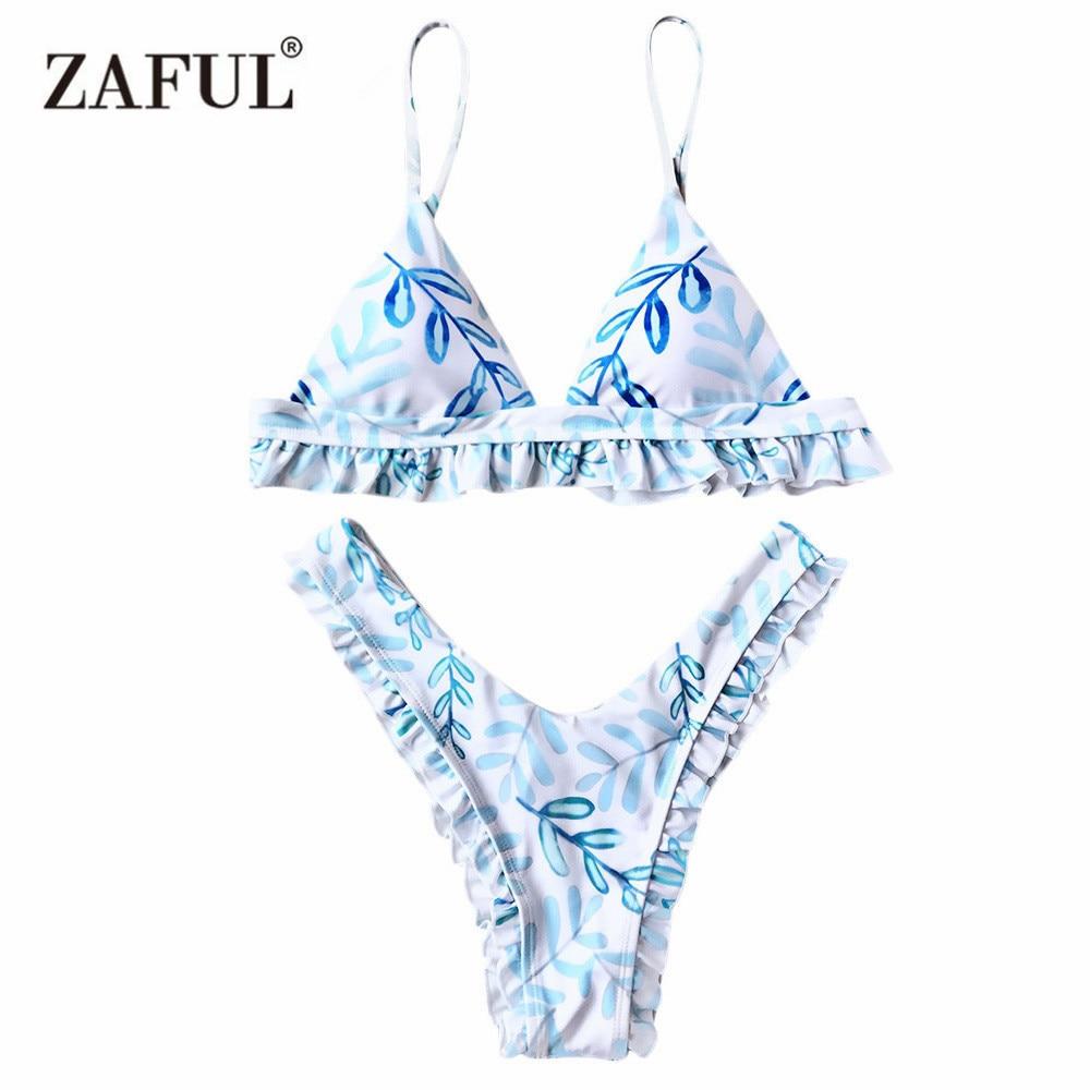 9ce5dd03849b € 13.11 |Zaful push up bikini Tanga hoja imprimir corte alto Conjuntos de  bikinis mujeres bañadores 2017 verano playa traje de baño mujer sexy ...