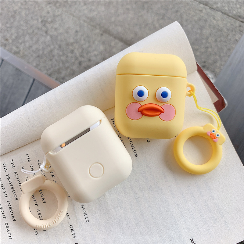 Cute Cartoon Earphone Case For Airpods 2 Cover Soft Silicone Slim Earphone Cover for Airpods 1 Case Bag Protective Strap Cases in Earphone Accessories from Consumer Electronics