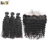 BAISI Hair, Brazilian Deep Wave 8A Virgin Hair 3Pcs Hair with 13*4 Lace Frontal Free Shipping