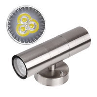 LED Wall Light Waterproof IP65 Stainless Steel Up Down GU10 Double Wall Lamp Indoor Outdoor AC220