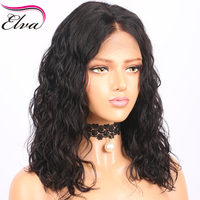 Elva Hair 150% Density Human Hair Bob Wigs Short Brazilian Lace Front Wigs Wavy Remy Hair With Baby Hair Bleacked Knots 10