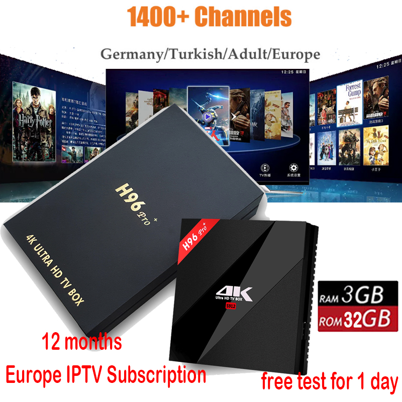 1 year iptv Original H96 Pro Plus android smart tv box 7.1 Amlogic S912 Octa Core 3G/32G dual wifi BT4.1 4K H96pro+ Media Player