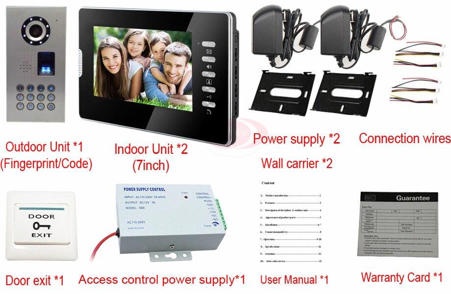 7Inch High Resolution Color Video Doorphone Door Entry Intercom Systems Fingerprint/code unlock CCD Camera IP65 waterproof 1V2