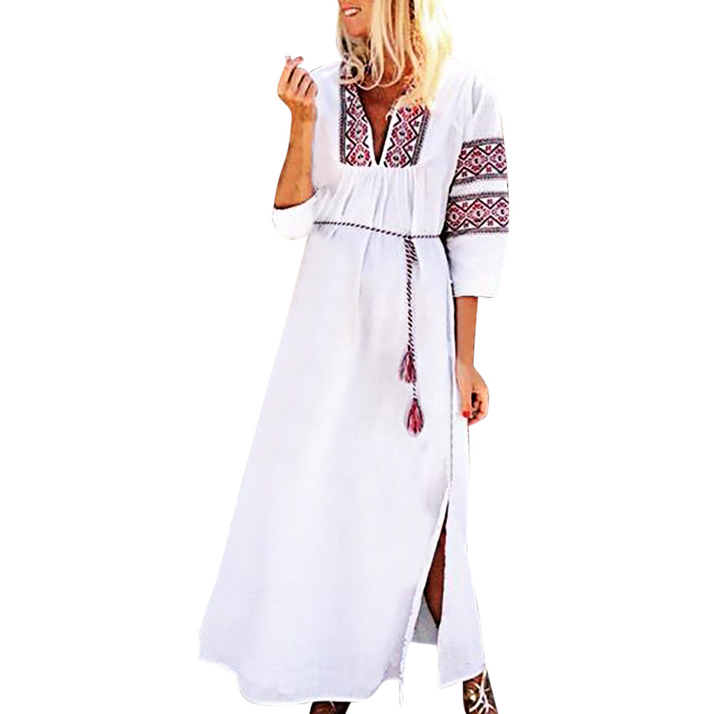 FREE OSTRICH Dress Women Vintage Print Belt V-Neck Long Sleeves Loose Casual Maxi Dignified Noble Graceful Long Dress Summer