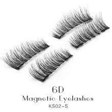 Beauty Health - Makeup - Genailish False Eyelashes 6D Magnetic Lashes Double Magnet Fake Eye Lashes Hand Made Strip Lashes Cilios Posticos KS02-S