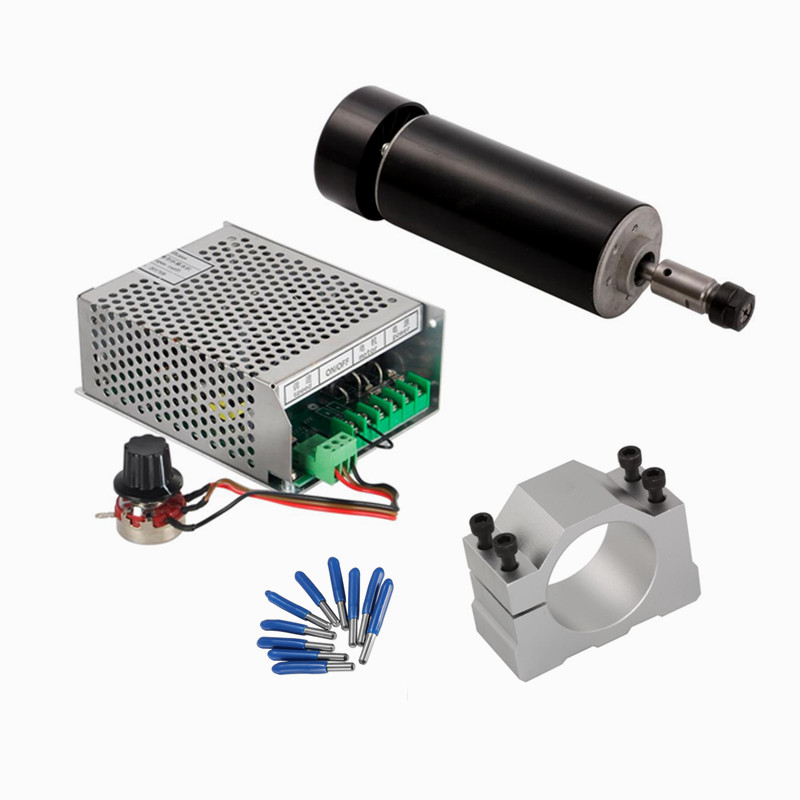 Air Cooled 500W DC Spindle Motor  Mach3 Power Supply 52mm Clamp For Milling Machine dc48v 400w 12000rpm brushless spindle motor air cooled 529mn dia 55mm er11 3 175mm for cnc carving milling