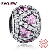 Genuine 100 925 Sterling Silver Sparkling Clear CZ Pink Crystal Heart Charm Beads Fit Original Pandora
