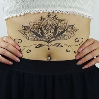1pc Chest Flash Tattoo 23models large black magical flower Sternum tattoos body paint necklace Under breast 24*13.8cm cool girls 5