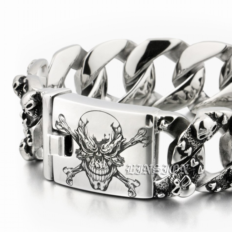 Huge Heavy Deep Laser Engraved Pirate Skull 316L Stainless Steel Mens Biker Rock Punk Curb Link Bracelet 5F104 engraving service 316l stainless steel deep engraved skull cross mens biker rocker punk bangle cuff 5j122