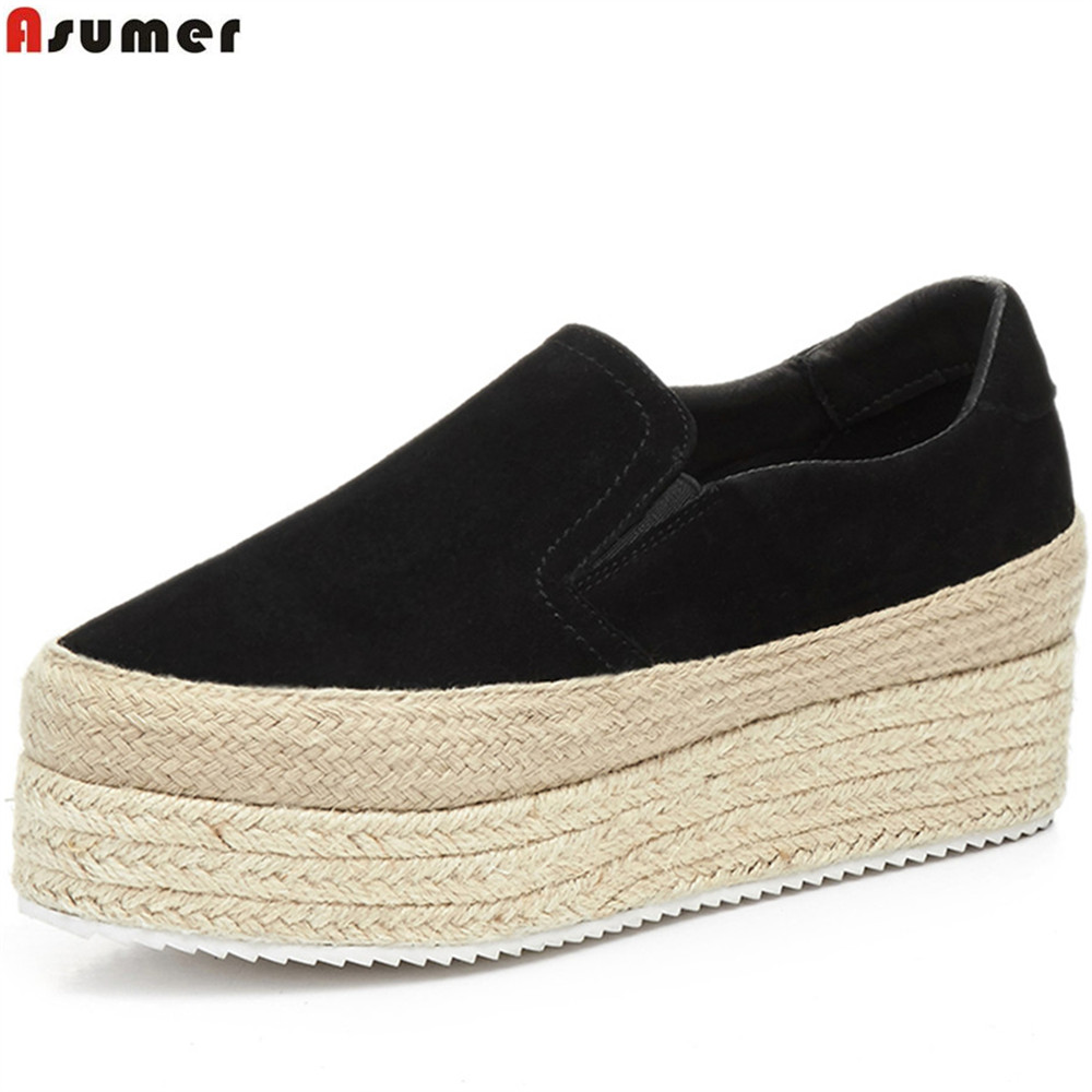 ASUMER black fashion spring autumn women shoes round toe ladies flats shoes platform leisure comfortable kid suede shoes star pointed toe pearl latest bow slip on flats beautiful ladies shoes suede black bee 2017 women spring autumn european fashion