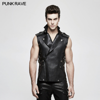 Punk Rave Men's Black Gothic Rock Biker Military Style Leather Vest Jacket Shirt Personality Y812