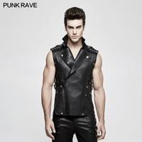 Punk Rave Men's Black Gothic Rock Biker Military Style Leather Vest T Shirt Personality Y812