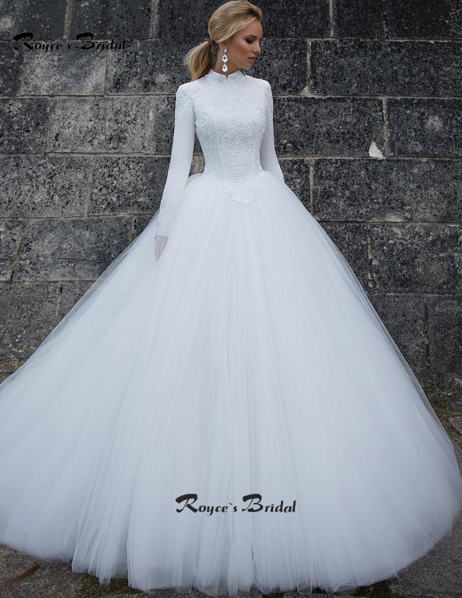 Modest muslim wedding dress fashion high collar long for Wedding dress high collar