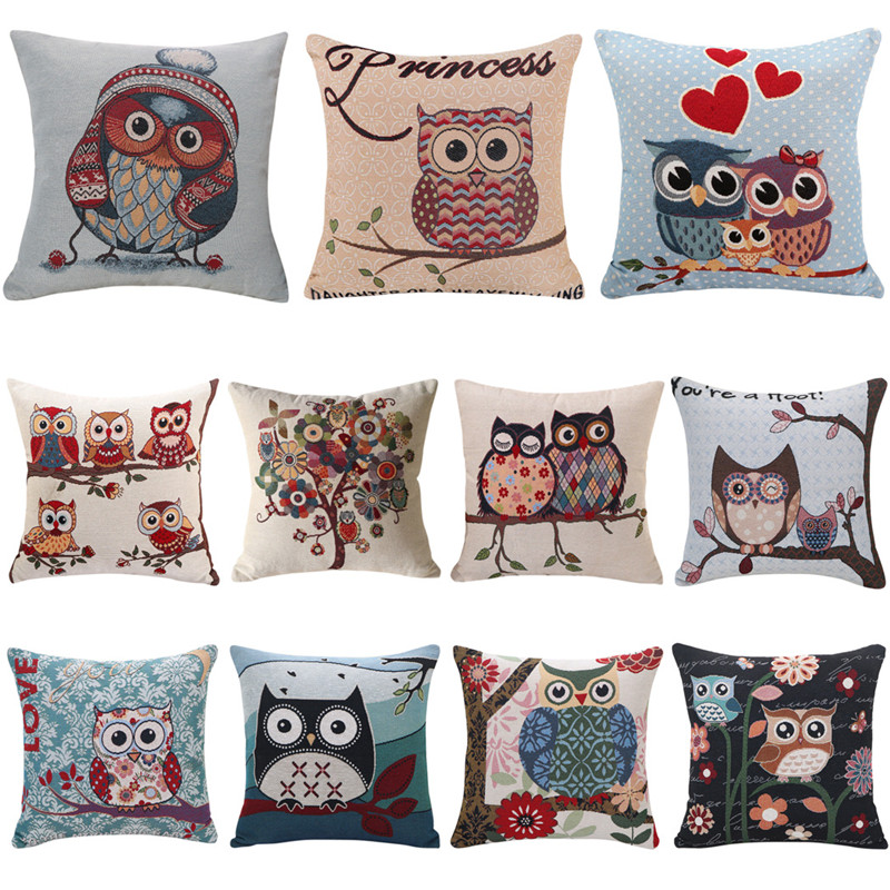 coxeer Cute Owl Cushion Cover Linen Cotton Cartoon Printed Pillowcase Square Pillow Cover 45x45cm Home Decor Housse De Coussin