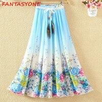 FANTASYONE 2018 High Waist Women Long Chiffon Skirts Womens Print Pleated Skirt Long Summer Boho Maxi