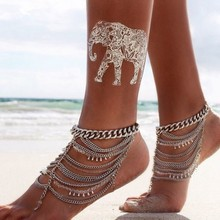 Vintage Silver Ankle Bracelet Foot Jewelry Crystal Beads Barefoot Anklets for Women Tornozeleira Chaine Bijoux 2016