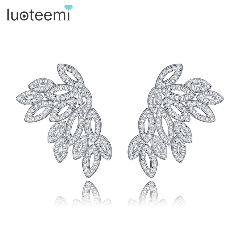 LUOTEEMI Brand Popular Design Fashion Sparkling Clear Zircon Crystal Vintage Wings Stud Earrings for Women Girls Brincos Jewelry