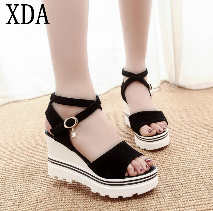 XDA 2018 new fashion Summer Korean muffin fish head women sandals with platform sandals simple shoes shook with students leisure korean thick bottom sandales sandalias summer new fish head sandals women s shoes slope with platform muffin baok 2717