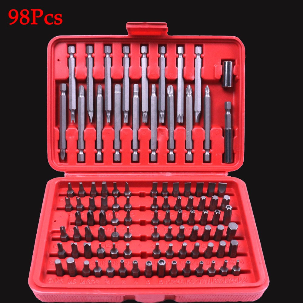 High Quality 98Pcs Screwdriver Security Bit Set Torx Hex Star Phillips Tamper Proof Car Repair Screwdriver Hand Tool With a Case 18pcs tamper proof torx star bits socket nuts set high quality 1 4 1 2 drive t8 t60 for auto car repair home use hand tool set