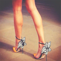 Hanbaidi Sexy Women Pumps Fashion Patent Leather Butterfly Pointed Toe Buckle Strap Women High Heels Runway Party Wedding Shoes