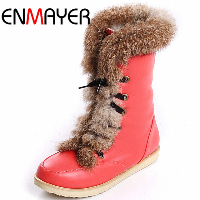 ENMAYER Plus Size Brand Women's Fashion Flats Lace Up Snow Boots  Rabbit Hair Woman Shoes for Winter Warm Boots Drop Shipping