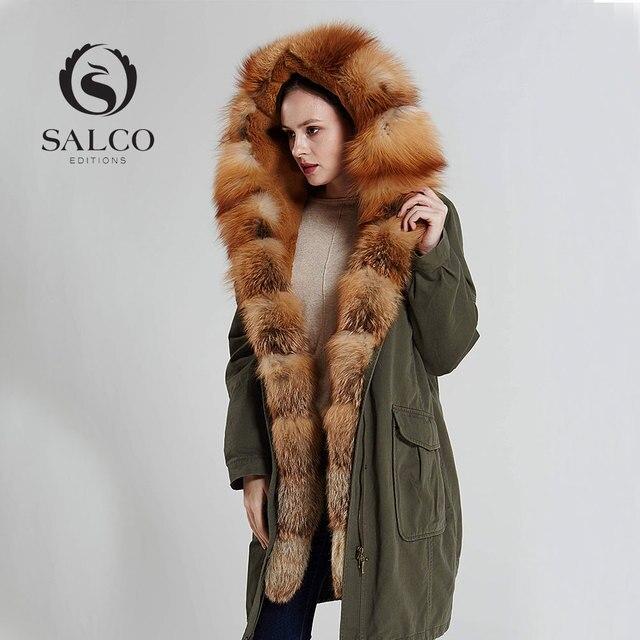 SALCO The latest led 2016 ms leisure high-end red fox rabbit gallbladder inside long hooded coat coat