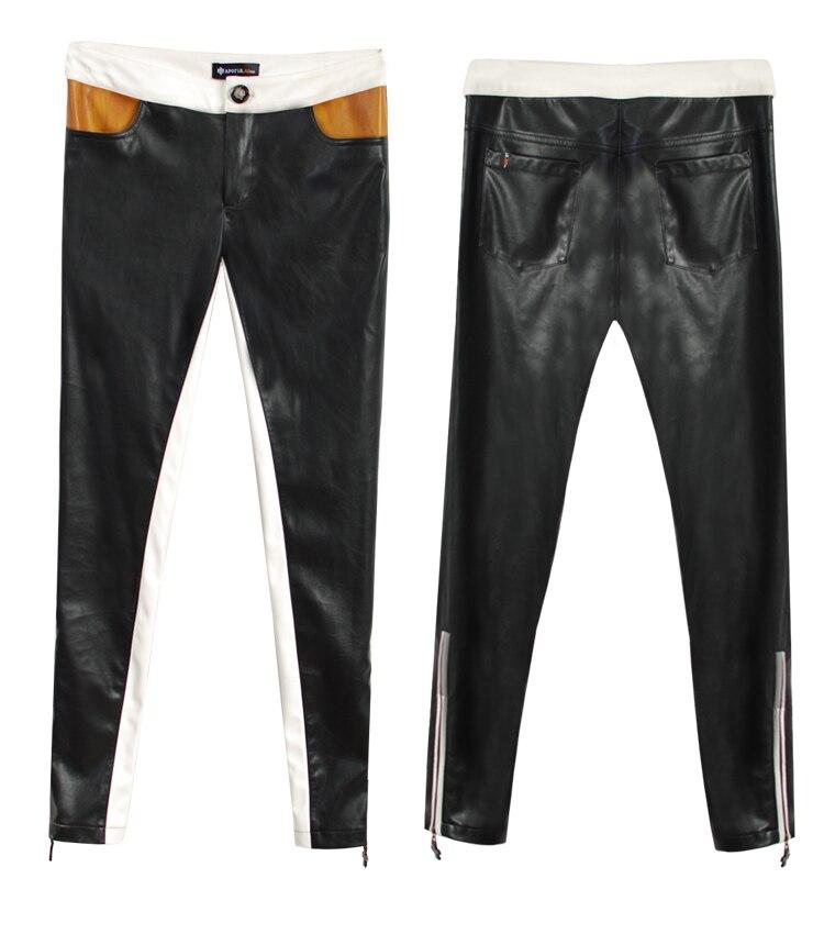¡S 5xl! Moda Mujer Pantalones elásticos Color bloque cuero Delgado pantalones lápiz Casual cremallera apretado cantante disfraces ropa - 5