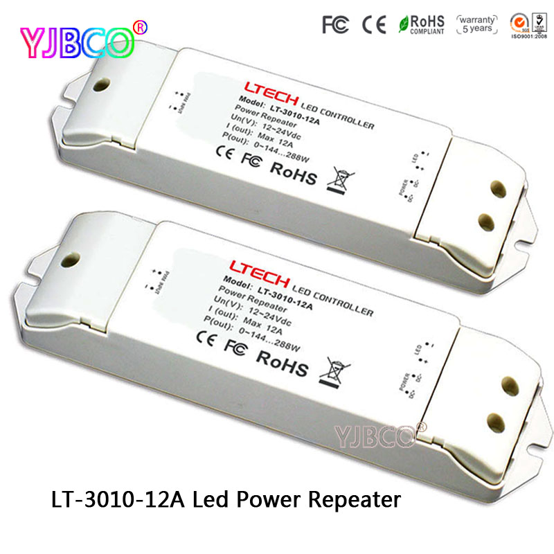 LTECH  LED controller LT 3010 12A Led Power Repeater(amplifier) accept PWM control DC12 24V 12A*1CH for single color led strip|RGB Controlers| |  - title=
