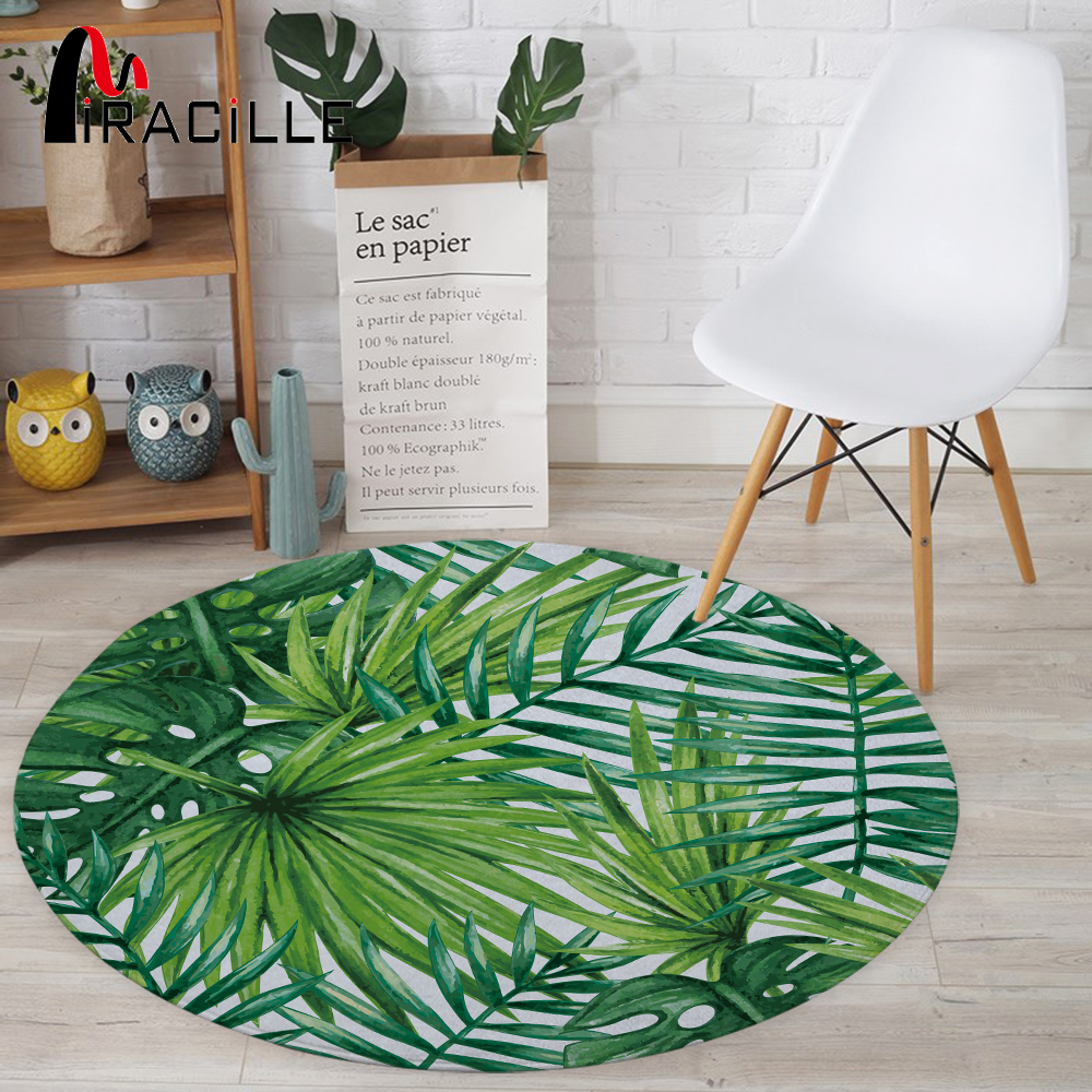 Miracille Round Carpets For Living Room Green Tropical Printed Parlor Bedroom Chair Rugs Toilet Bath Decorate Non-slip Door Mat