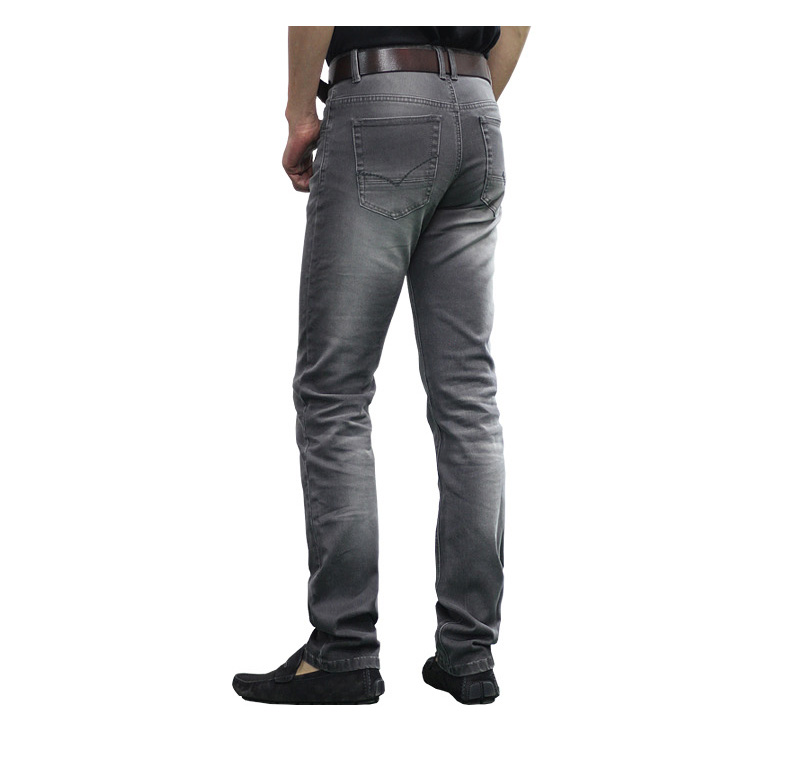 Autumn and winter men's clothing vintage grey male straight jeans elastic slim elastic trousers lengthen male