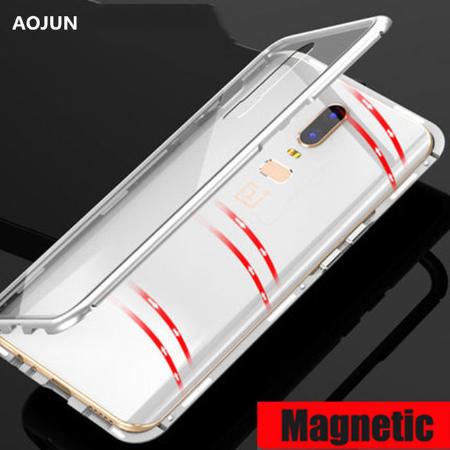 sale retailer 0b7b4 72d5c US $11.59 |Aojun Magnetic Adsorption Case For OnePlus 6 Tempered Glass  Metal Bumper Magnet Phone Case For One Plus 6 Back Cover-in Fitted Cases  from ...
