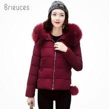 Brieuces Large Fur Collar Winter Coat Women 2018 New Jacket Short Slim Thickening Warm Parka Female Outerwear Black